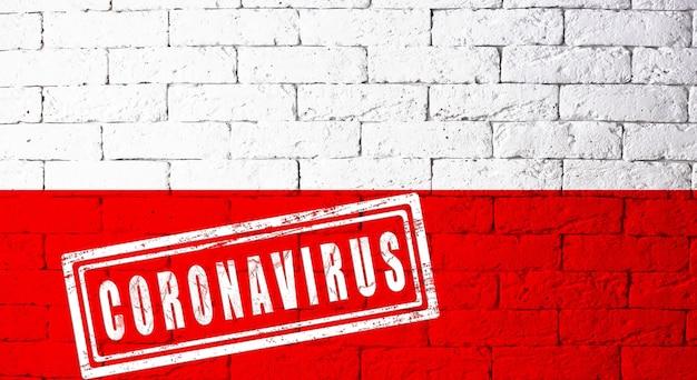オリジナルのプロポーションを持つドイツテューリンゲン地方の旗。コロナウイルスの刻印。レンガの壁のテクスチャ。コロナウイルスの概念。 covid-19または2019-ncovパンデミックの危機に瀕しています。