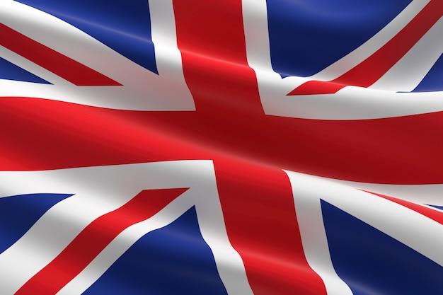 イギリスの旗。手を振っている英国の旗の3dイラスト。
