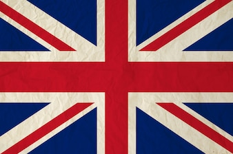 Flag of The United Kingdom of Great Britain and Northern Ireland with vintage old paper