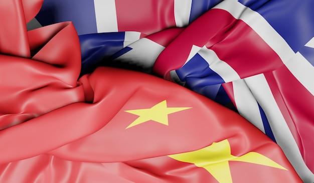 中国とイギリスの旗。 3dレンダリング