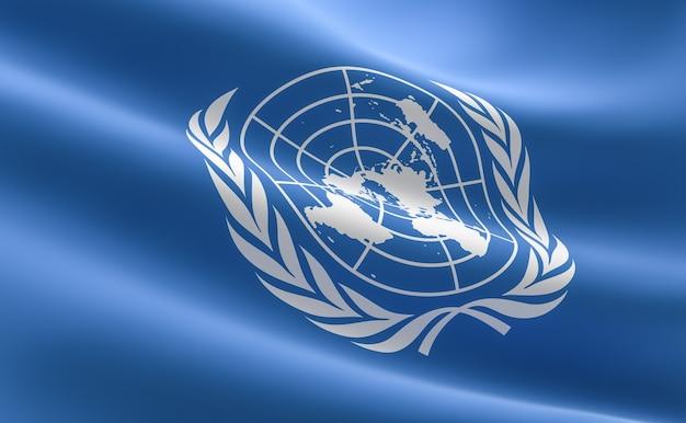 유엔의 국기. 유엔 깃발을 흔들며의 그림입니다.