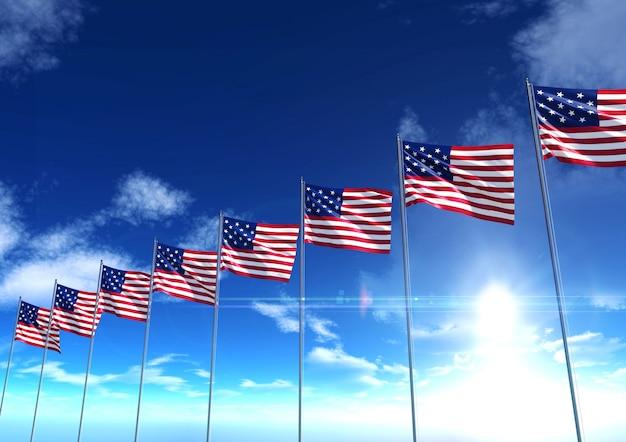 Флаг соединенных штатов америки под голубым небом, 3d-рендеринг
