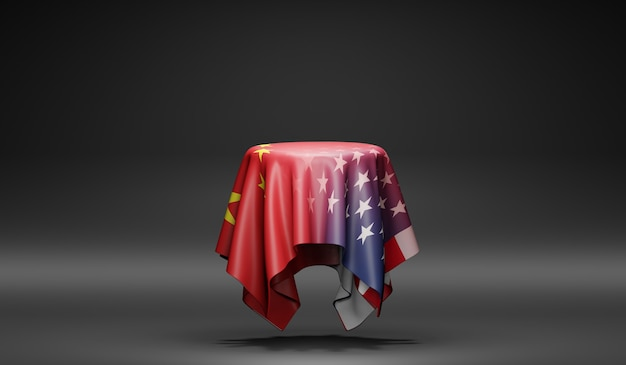 中国と米国の旗。 3dレンダリング