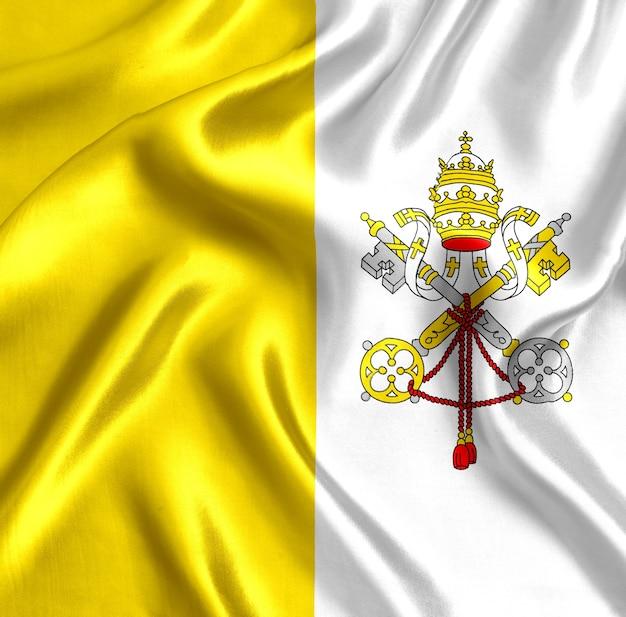 바티칸 실크 클로즈업의 국기