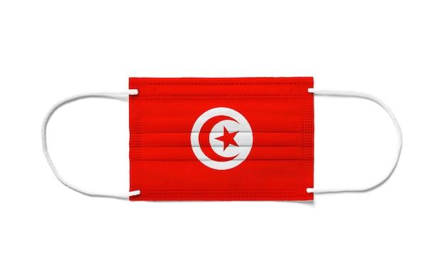 Флаг туниса на одноразовой хирургической маске