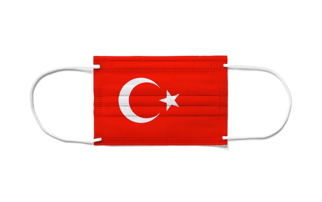 Флаг турции на одноразовой хирургической маске