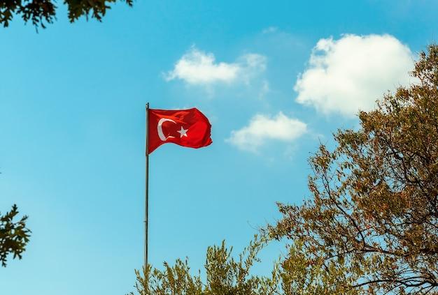 Флаг турции развевается на фоне голубого неба и ветвей деревьев