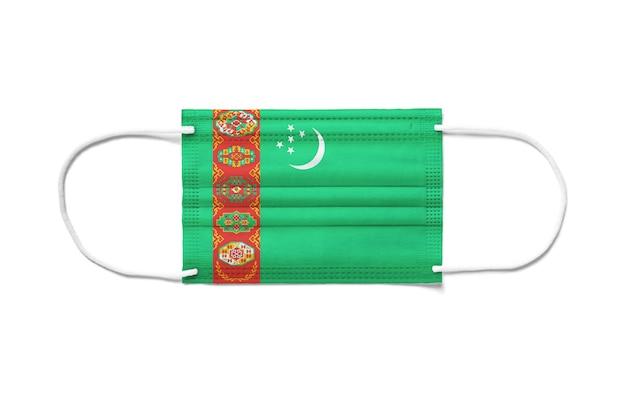 Флаг туркменистана на одноразовой хирургической маске