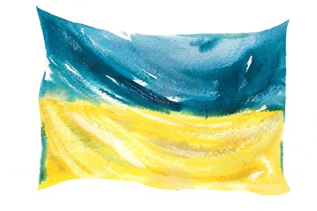 Флаг украины нарисован акварелью