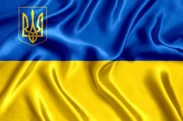 Флаг украины с крупным планом шелка трезубец