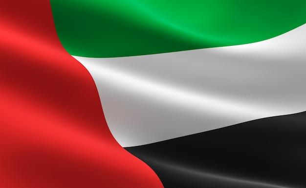 Флаг объединенных арабских эмиратов. иллюстрация флаг оаэ размахивая.