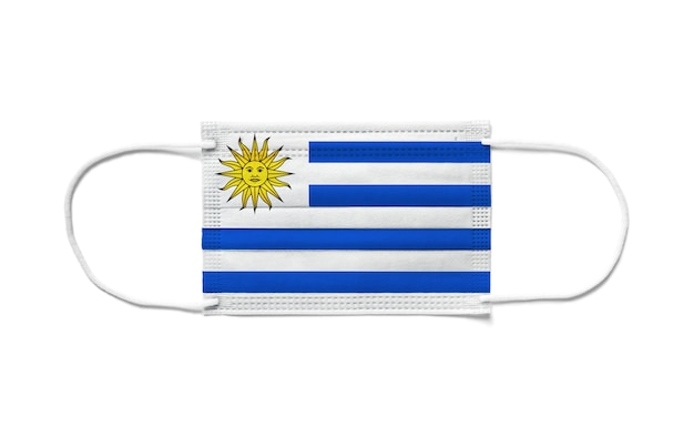 Флаг уругвая на одноразовой хирургической маске