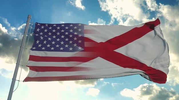 미국과 알라바마 주 국기. 미국과 앨라배마 혼합 깃발 바람에. 3d 렌더링.