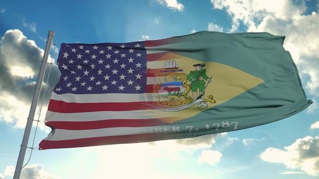 미국 및 델라웨어 주 국기