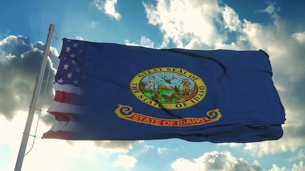 미국 및 아이다 호 주 국기