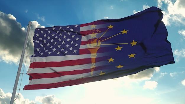 미국 및 인디애나 주 국기