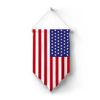 미국 국기가 벽에 걸려 있다