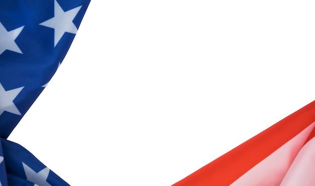 Флаг сша на белом фоне с copyspace для текста