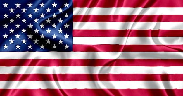 アメリカの国旗のシルクのクローズアップ
