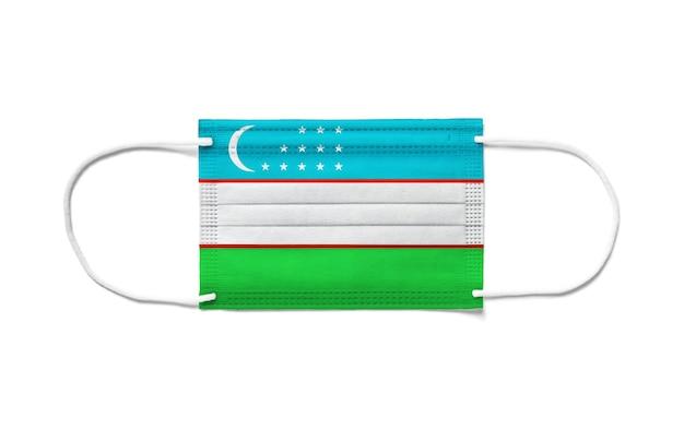 Флаг узбекистана на одноразовой хирургической маске
