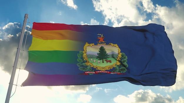 Флаг вермонта и лгбт. смешанный флаг вермонта и лгбт развевается на ветру. 3d-рендеринг.