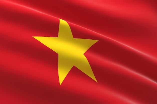 베트남의 국기. 베트남 국기를 흔들며의 3d 일러스트