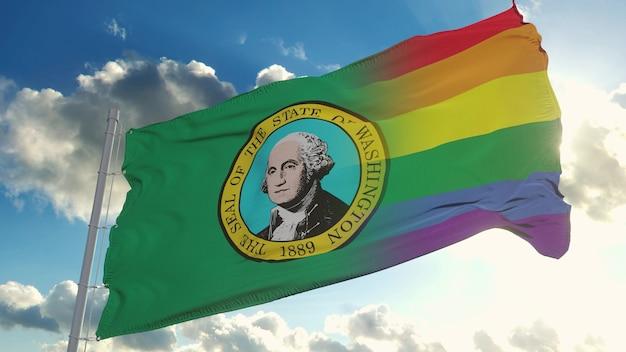 Флаг вашингтона и лгбт. вашингтон и смешанный флаг лгбт развеваются на ветру. 3d-рендеринг.