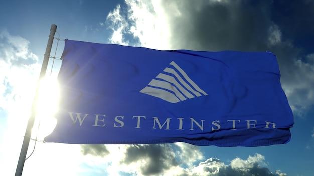 アメリカ合衆国、コロラド州ウェストミンスターの旗。 3dレンダリング