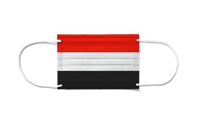 Флаг йемена на одноразовой хирургической маске