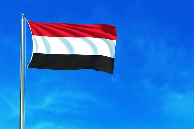 青空の背景にイエメンの旗3dのレンダリング