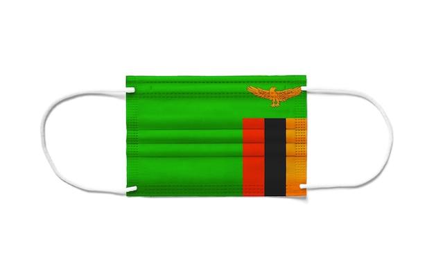 Флаг замбии на одноразовой хирургической маске