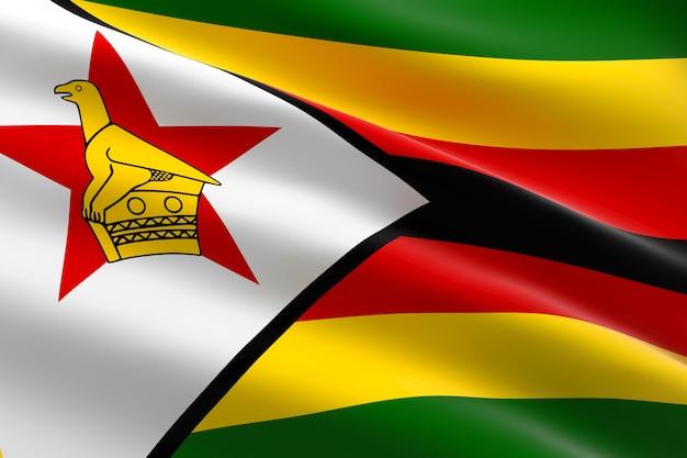 ジンバブエの旗。手を振っているジンバブエの旗の3dイラスト