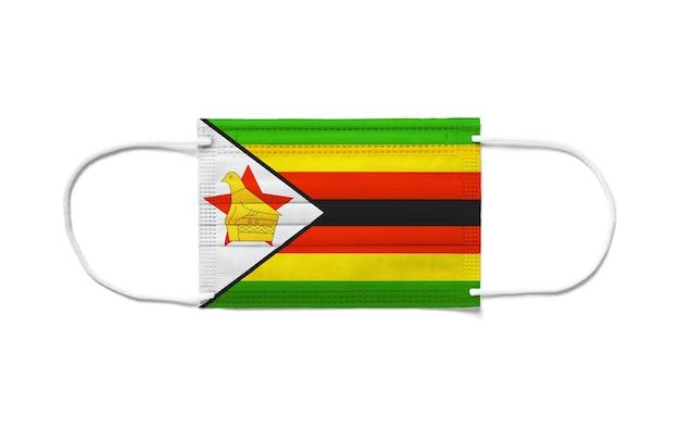 Флаг зимбабве на одноразовой хирургической маске