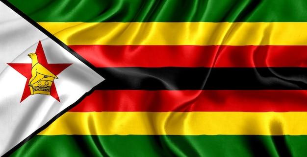 ジンバブエの旗のシルクのクローズアップ