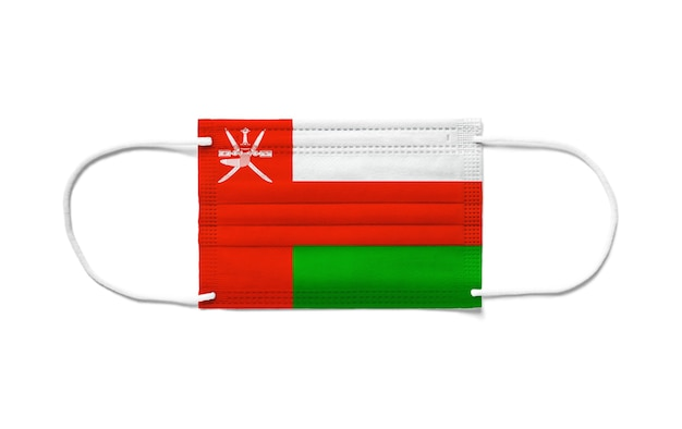 Flag of oman on a disposable surgical mask.