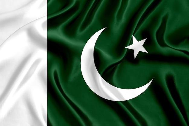 パキスタンのシルクのクローズアップにフラグを立てる