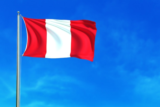 Flag of peru on the blue sky background 3d rendering