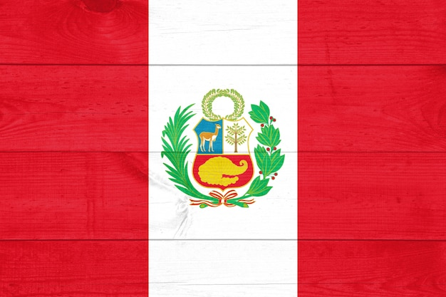Flag of peru  on wooden background