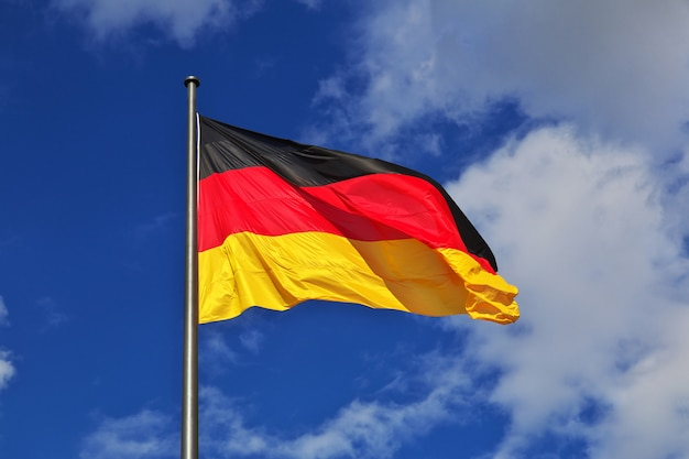 Flag on reichstag building, berlin, germany