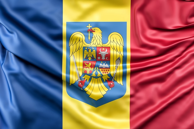 Flag of romania with coat of arms