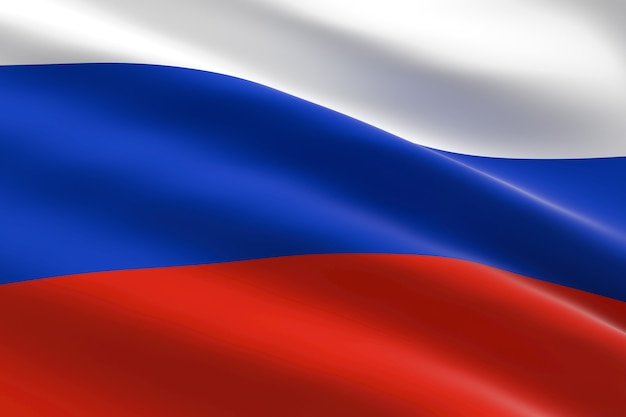 Flag of russia. 3d illustration of the russian flag waving