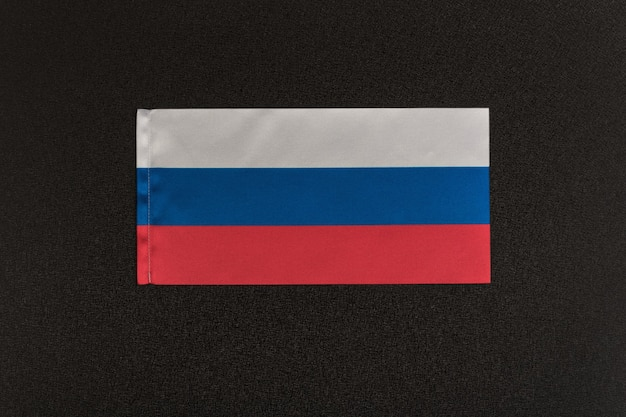 Flag of russia on black. national symbol of russian federation.