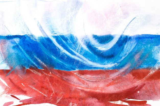 Flag of russia. russian federation. watercolor illustration.