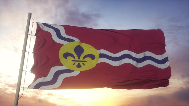 Flag of saint louis, missouri, waving in the wind, sky and sun background. 3d rendering.