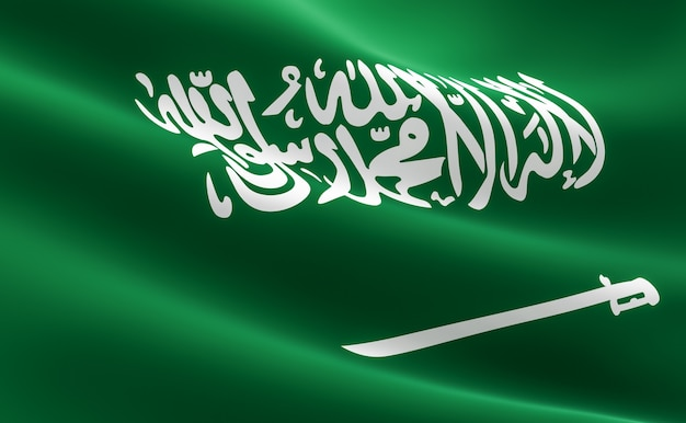 Flag of saudi arabia. illustration of the saudi arabia flag waving.