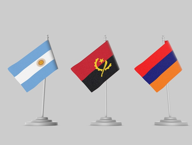 Flag set - argentina, angola, armenia