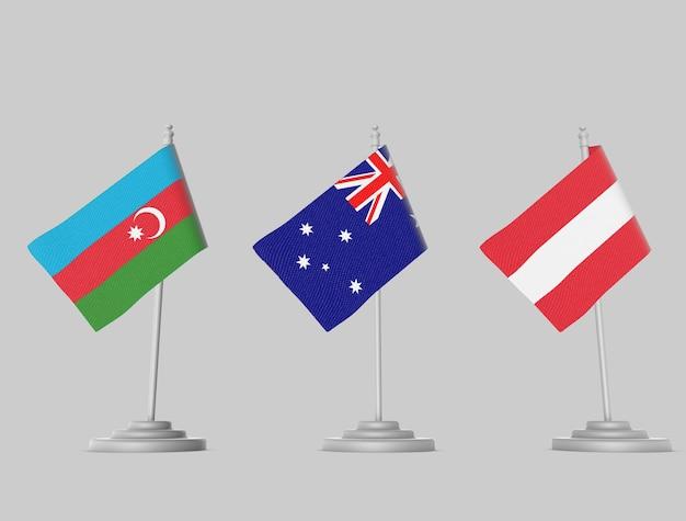 Flag set - azerbijan, australia, austria