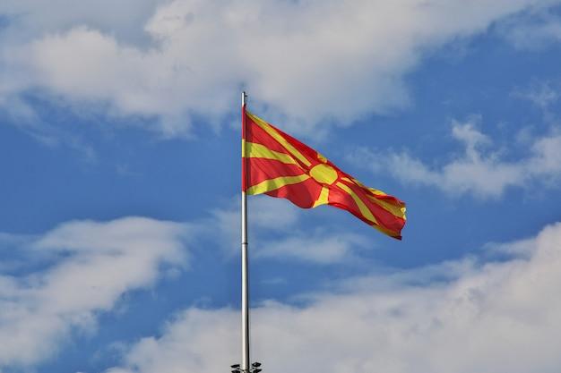The flag in skopje, macedonia, balkans