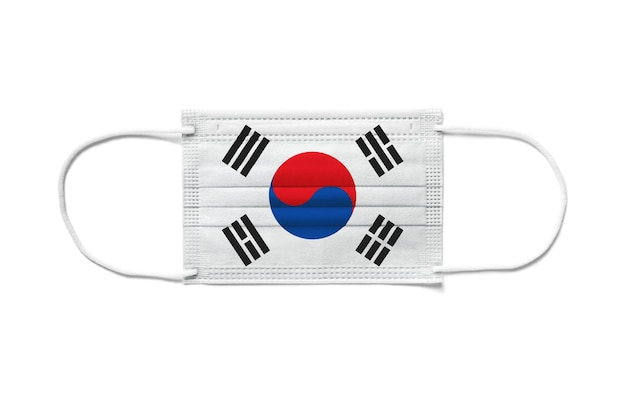Flag of south korea on a disposable surgical mask. white background isolated