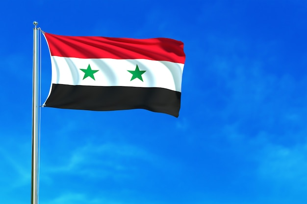 Flag of syria on the blue sky background 3d rendering
